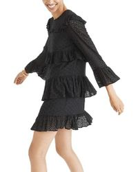 Madewell | Black Waterlily Ruffle Eyelet Dress | Lyst