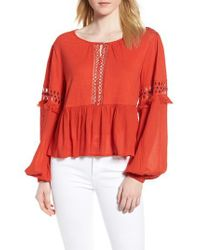 Lucky Brand - Red Lucky Cutout Peasant Blouse - Lyst