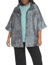 Eileen Fisher - Blue Jacquard A-line Jacket - Lyst