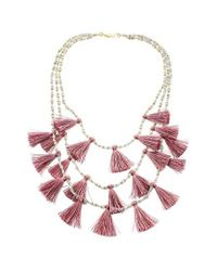 Panacea - Purple Tassel Statement Necklace - Lyst