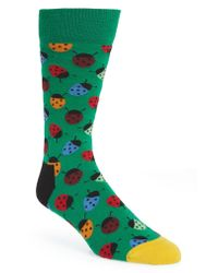 Happy Socks - Green Ladybug Socks for Men - Lyst