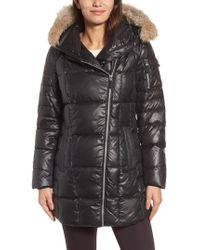 Andrew Marc - Black Down & Feather Fill Coat With Genuine Coyote Fur - Lyst