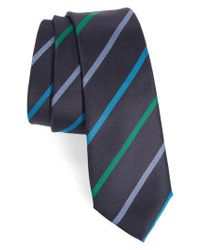 Paul Smith | Blue Stripe Silk Skinny Tie for Men | Lyst