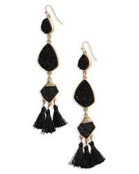 Panacea - Black Drusy Tassel Earrings - Lyst