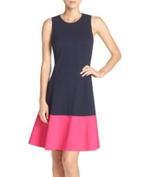 Eliza J - Black Colorblock Hem Fit & Flare Dress - Lyst