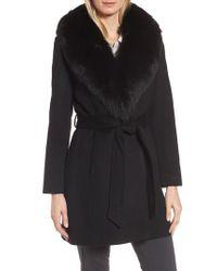 Sofia Cashmere | Black Genuine Fox Fur Lapel Wrap Coat | Lyst
