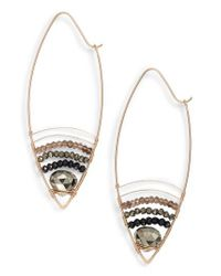 Nashelle - Metallic Cabana Golden Sand Oblong Hoop Earrings - Lyst