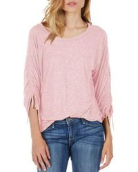 Michael Stars - Pink Ruched Sleeve Tee - Lyst