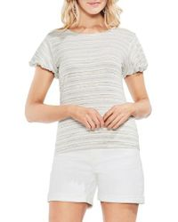 Vince Camuto - White Striped Short Sleeve Top - Lyst