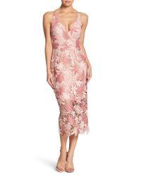 Dress the Population - Pink Aurora Lace Tea Length Dress - Lyst