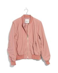 Madewell - Pink Side Zip Bomber Jacket - Lyst