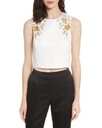 Ted Baker - White Embellished Bee Sleeveless Crop Top - Lyst