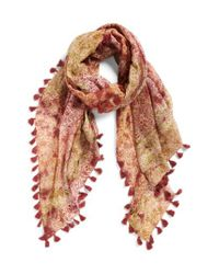 La Fiorentina - Brown Floral Print Silk & Cotton Scarf - Lyst