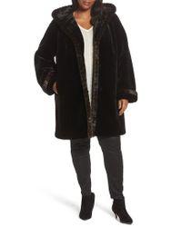 Gallery - Black Hooded Faux Fur Coat - Lyst