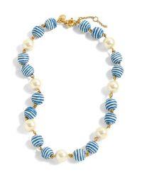 J.Crew - Blue J.crew Stripe Bead & Glass Pearl Necklace - Lyst
