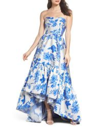 Mestiza New York - Blue Mestiza Georgiana Floral High/low Strapless Gown - Lyst
