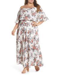 Glamorous White Print Off-the-shoulder Maxi Dress
