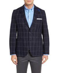 Kroon | Blue White Classic Fit Check Silk Sport Coat for Men | Lyst