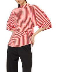 TOPSHOP - Red Stripe Tuck Detail Top - Lyst