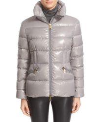 Moncler | Gray 'daphne' Water Resistant Short Shiny Nylon Jacket | Lyst
