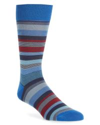 Bugatchi - Blue Stripe Socks for Men - Lyst