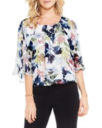Vince Camuto | Blue Garden Expressions Batwing Crepe Top | Lyst