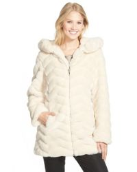 Gallery - Natural Hooded Chevron Faux Fur Coat - Lyst
