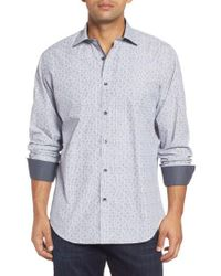 Bugatchi - Blue Classic Fit Floral Pinstripe Sport Shirt for Men - Lyst