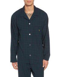 Ralph Lauren - Blue Polo Flannel Pajama Shirt for Men - Lyst