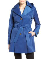 Via Spiga - Blue 'scarpa' Hooded Single Breasted Trench Coat - Lyst