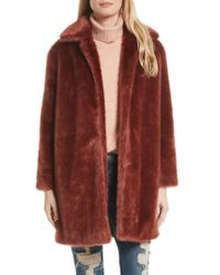FRAME - Red Faux Fur Coat - Lyst