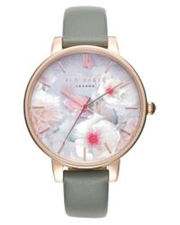 Ted Baker | Pink Kate Print Dial Leather Strap Watch | Lyst
