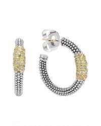 Lagos - Metallic Embrace Caviar™ Diamond Hoop Earrings - Lyst