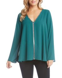 Karen Kane - Green V-neck Sparkle Blouse - Lyst