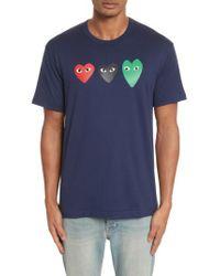 Comme des Garçons | Blue Play Graphic T-shirt for Men | Lyst