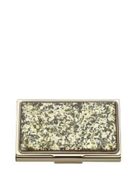 Lyst kate spade glitter business card holder metallic in metallic gallery colourmoves