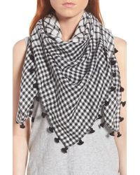 Eileen Fisher - Multicolor Eileen Fringe Mixed Check Square Scarf - Lyst