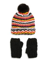 Trouvé - Black Chunky Stitch Beanie With Faux Fur Pom & Fingerless Gloves Gift Set - Lyst