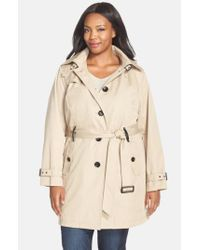 MICHAEL Michael Kors - Natural Single Breasted Raincoat - Lyst