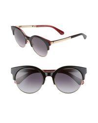 Kate Spade - Black Kaileen 52mm Semi-rimless Cat Eye Sunglasses - Lyst