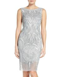 Adrianna Papell | Blue Beaded Sheath Dress | Lyst