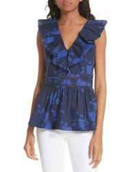 Kate Spade - Blue Hibiscus Ruffle Neck Cotton Blouse - Lyst