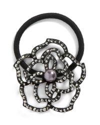 Tasha - Black Flower Garden Crystal Ponytail Holder - Lyst