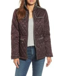 Vince Camuto | Brown Mixed Media Quilted Jacket | Lyst