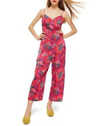 TOPSHOP - Pink Sleeveless Floral Jumpsuit - Lyst
