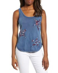 Lucky Brand - Blue Embroidered Tank - Lyst