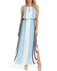 Adrianna Papell - Blue Stripe Maxi Dress - Lyst
