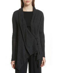 Vince - Black Drape Front Wool & Cashmere Cardigan - Lyst