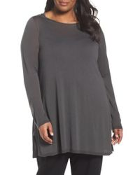 Eileen Fisher - Gray Ballet Neck Tencel Tunic Top - Lyst