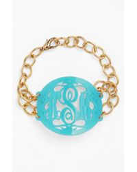 Moon & Lola - Metallic 'annabel' Large Oval Personalized Monogram Bracelet (nordstrom Exclusive) - Lyst